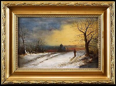 A Snowy Sunset, c1900 English School Winter Landscape Oil Painting, Unique Gift