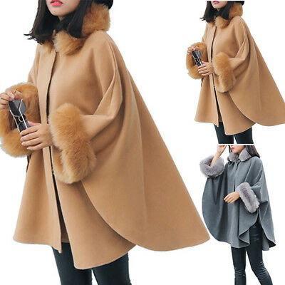 Womens Ladies Warm Faux Fur Poncho Cape Trim Hooded Celeb Jacket Wrap Coat Size