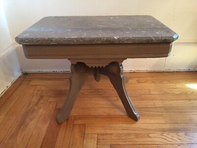 Antique Victorian Eastlake Style Stone Top Parlor Accent End Coffee Table