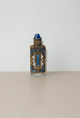 Antique Czech Glass Perfume Bottle Mini Blue Accordion Jeweled Filigree Enamel