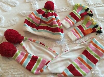 Girl's Gymboree Cozy Cutie Accessories Lot 8 and up Scarf, Hat, Gloves