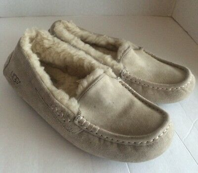 Ugg Australia Ansley Slippers Suede Mocs Leather Shearling Wool Gray Cream 7