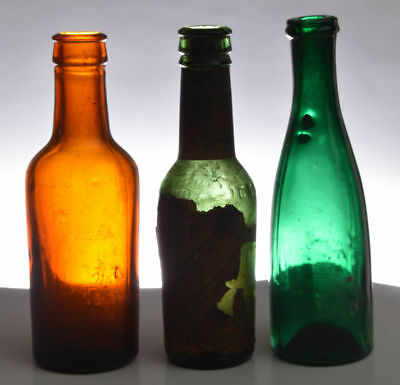 Lot Of 3 Colored Sample Size Whiskey - Bitters - Hock Wine Found In Barn