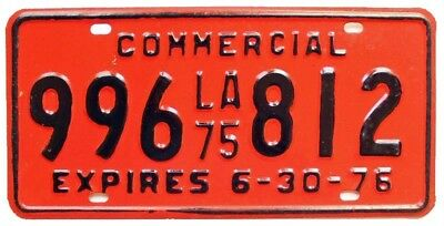 Colorful Vintage Unused Louisiana 1975 Commercial Truck License Plate 996-812