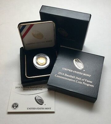 2014 W National Baseball Hall Of Fame Proof $5 Gold Coin Box COA
