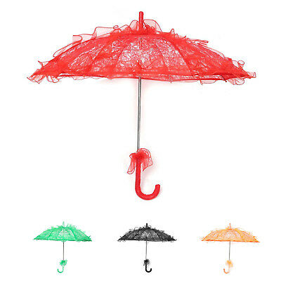 Lace Parasol Wedding Lace Flower Wedding Bride Parasol Umbrella red I4C4@U2R0