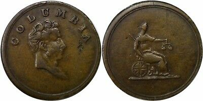 1800's Canada Columbia Farthing Token 21MM