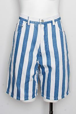 Vintage Mixit Blue Vertical Stripe High Waisted Vintage Shorts Fits Size Small
