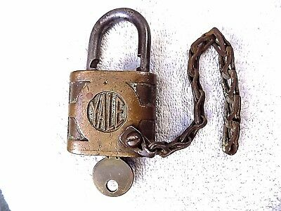 Antique Yale & Towne Brass Padlock with Key Works