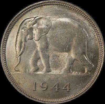 Belgian Congo Africa Elephant 1944 Silver Crown Choice Unc Pcgs Ms62 $200 Value