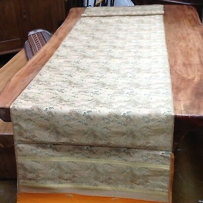 Antique Chinese Scroll Silk Brocade Gold Green Vintage Textile Art Panel SIGNED