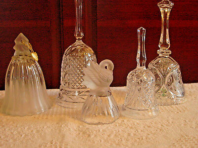 5 Assorted Vintage All Glass Crystal Bells Collection