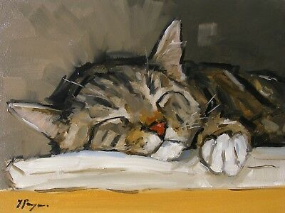 Original animal Oil painting - tabby cat - hand painted portrait - by j payne