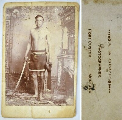 Rare 1875 Native American Indian Crow Scout Custer Goff Cabinet Card Photo Chief
