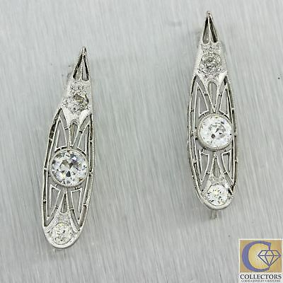 1920s Antique Art Deco Solid Platinum 1.60ctw Diamond Filigree Hook Earrings