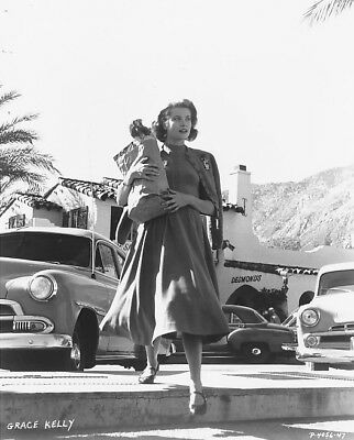 1950's ORIGINAL Photo NEGATIVE - GRACE KELLY Candid with Old Cars & Groceries