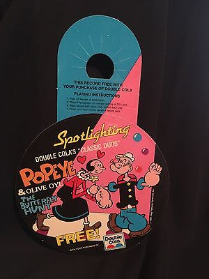 1984 POPEYE and OLIVE OIL Record Advertisement for DOUBLE COLA 45 Promo