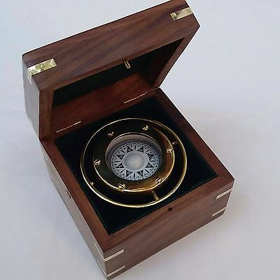 S  Nautical Marine Gimballed Ship Solid Brass Compass in wooden Box - Gift