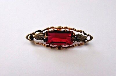 Victorian Antique Brooch~Pin Ruby Red Glass Beautiful C Clasp