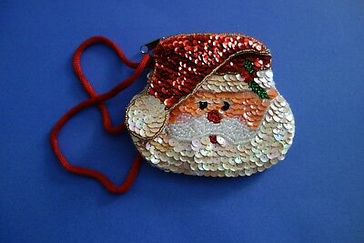 Holiday Christmas Santa Claus Sequined Beaded Wristlet Coin Purse New