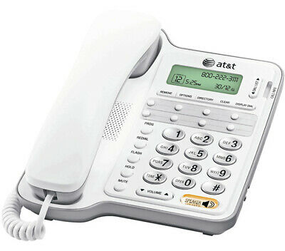 AT&T CL2909 Corded Phone with Speakerphone and Caller ID Large Display - White