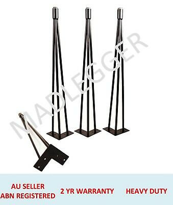 4x RUBBER TIP HAIRPIN LEGS - 12MM RODS - POWDER COATED BLACK- 25CM, 45CM, 71CM