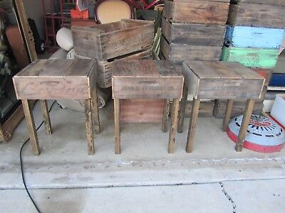 Vintage Wood Crate End Table Accent Nightstand Old Antique Primitive