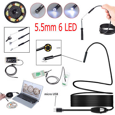 5.5mm 6 LED Endoscope Waterproof Inspection Camera For Microsoft Android Lot