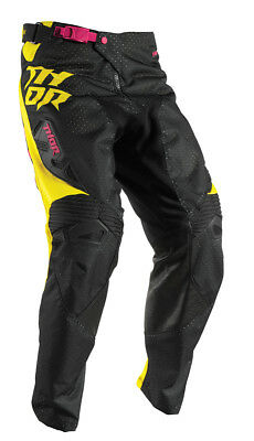 THOR MX Motocross Kids 2017 FUSE AIR DAZZ Pants (Magenta/Yellow) US 28 (Youth)