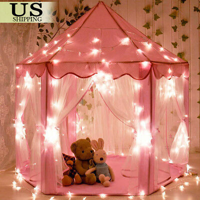 Pink Princess Castle House Indoor/Outdoor Kids Play Tent for Girls w/ LED Lights