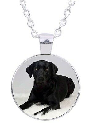 "Black Lab Dog 20"" Silver Tone Chain Photo Cabochon Glass Pendant Necklace"