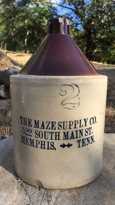 Rare Maze Supply Co Memphis Tennessee Advertising Whiskey Jug Stoneware Bottle