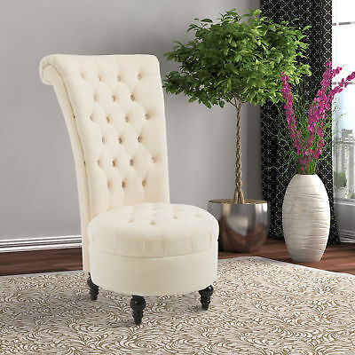 "HOMCOM 45"" Tufted High Back Velvet Accent Chair Living Room Soft Padded Cream"