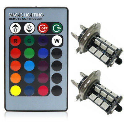 2pcs RGB H7 5050 Auto LED Fog Lights Bulbs Driving DRL Lamp Wireless Remote Kit