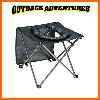 Oztrail Folding Toilet Chair Black Portable Camping Seat Compact Carry Bag
