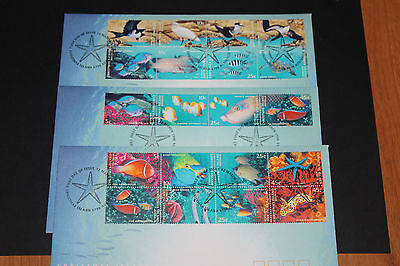 Christmas Island 1998 Marine Life Set Of 20 On 3 Fdcs Mint Cond