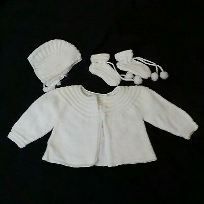 Vintage Baby Infant Sweater Hat Booties off white Pearl Buttons