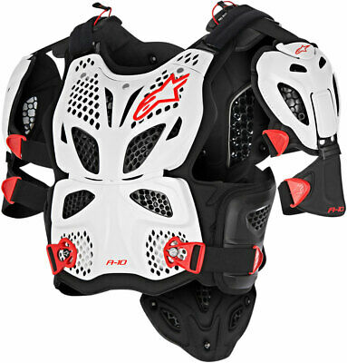 Alpinestars A-10 Full Chest Protector / Roost Guard (Black/Red/White) XS-SM