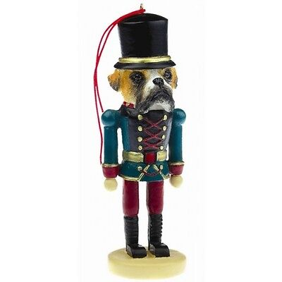 Boxer Fawn Uncropped Dog Toy Soldier Nutcracker Christmas Ornament
