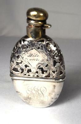 ANTIQUE STERLING SILVER OVERLAY FLASK: Lot 225