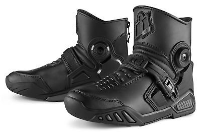 ICON ACCELERANT Mid-Rise Leather Motorcycle Boots (Black) US 9