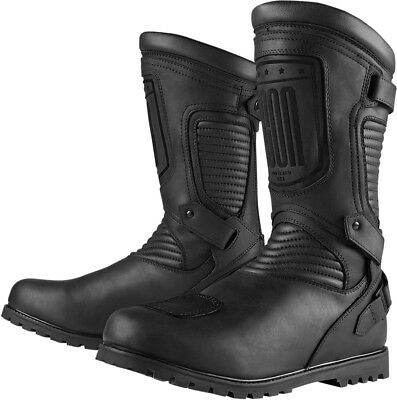 ICON 1000 PREP CE Waterproof Leather Motorcycle Boots (Stealth/Black) 8