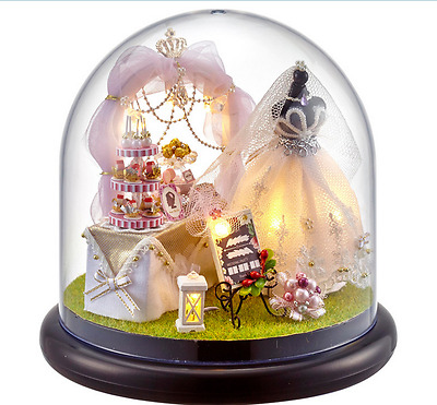 DIY Doll House Dreamlike Wedding Miniatures LED Furniture Kit Light With Cover