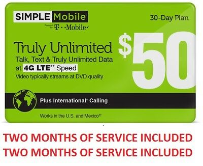 TWO MONTHS Preloaded SIMPLE MOBILE SIM CARD $50 unlimited talk, text and 4G data