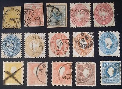 RARE 1850- Austria lot of 15 Imperial Eagle & Franz Josef stamps Used