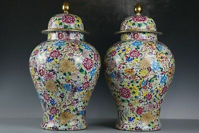 Chinese Beautiful A pair Huge Famille Rose  Porcelain Wanhua Vase Pot