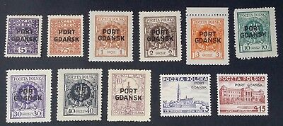 SCARCE 1925-37 Poland Port Gdansk lot of 11 Polish stamps with O/P Mint