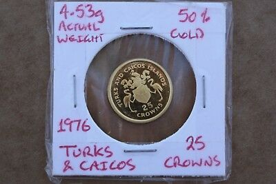 Turks and Caicos 1976 25 crowns gold coin