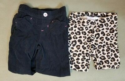 Jumping Beans Size 5 Girls Black Corduroy & Brown Animal Print Leggings Pants