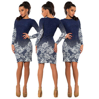 Fashion Women Sexy Bodycon Round Neck Long Sleeve Evening Cocktail Floral Dress